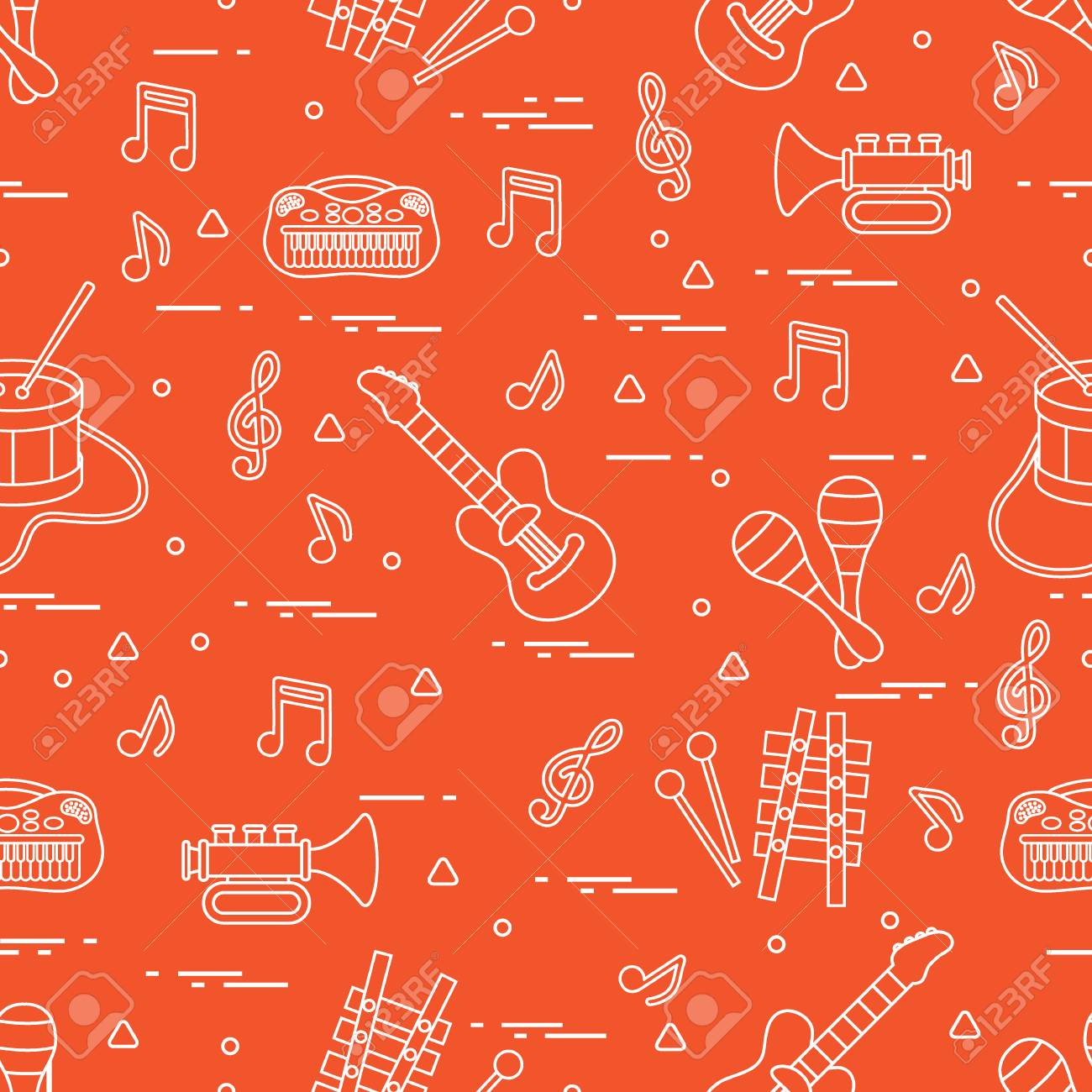 Vector pattern of sheet music and different musical toys: guitar,