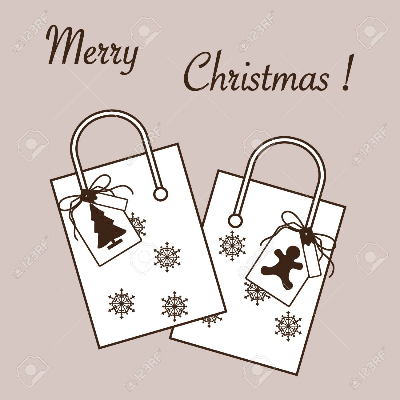 Cute Vector Illustration: Two Gift Bags With Snowflakes And Tags ...