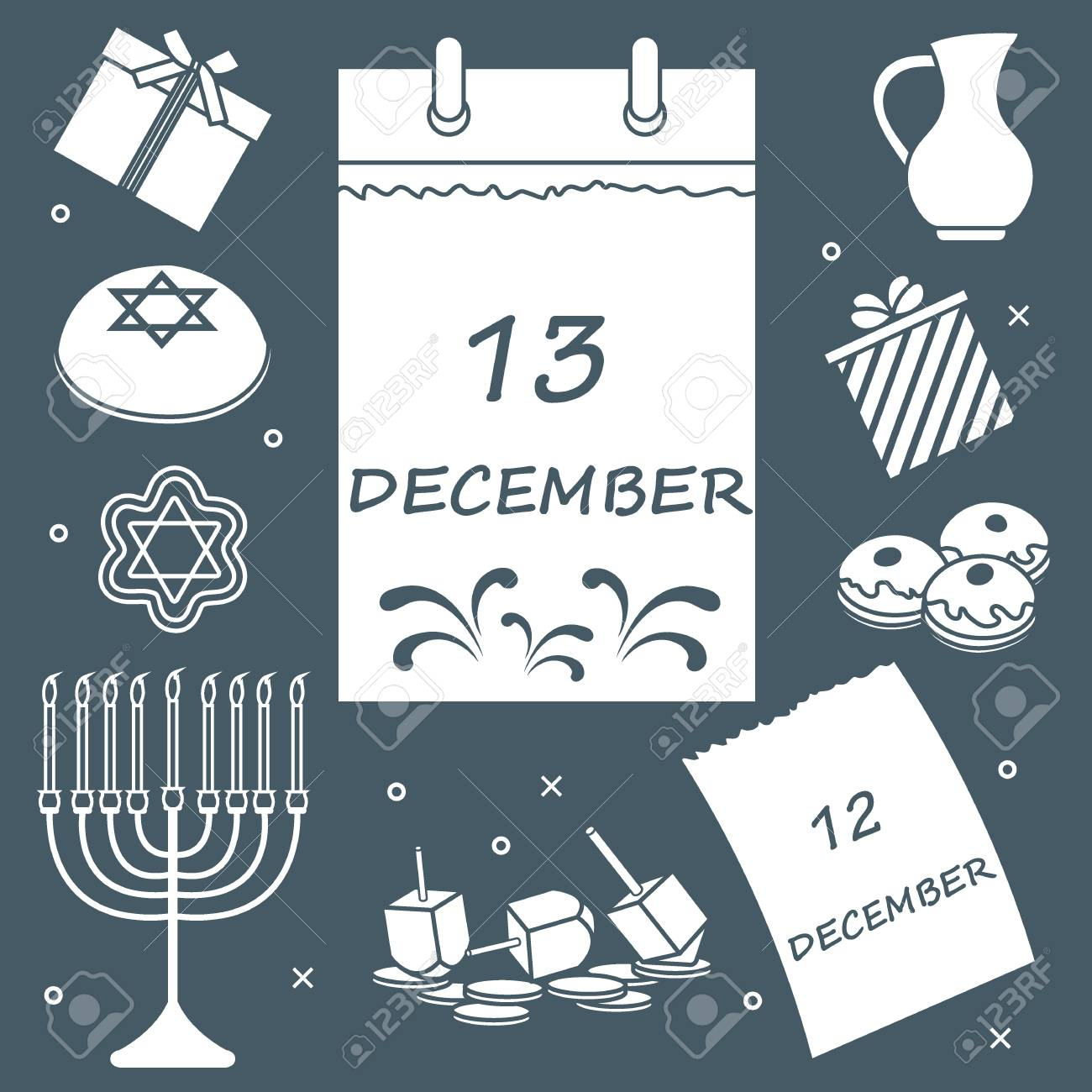 Vector Illustration Jewish Holiday Hanukkah Calendar Gifts