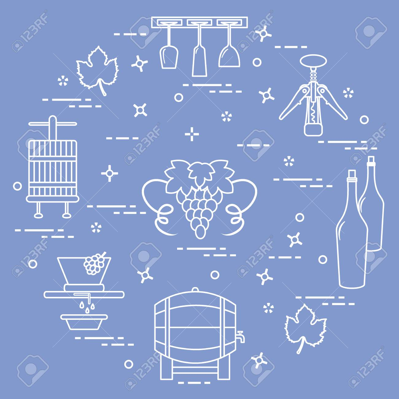 Winemaking: the production and storage of wine. Culture of drinking wine. Design for announcement, advertisement, print. - 91759145
