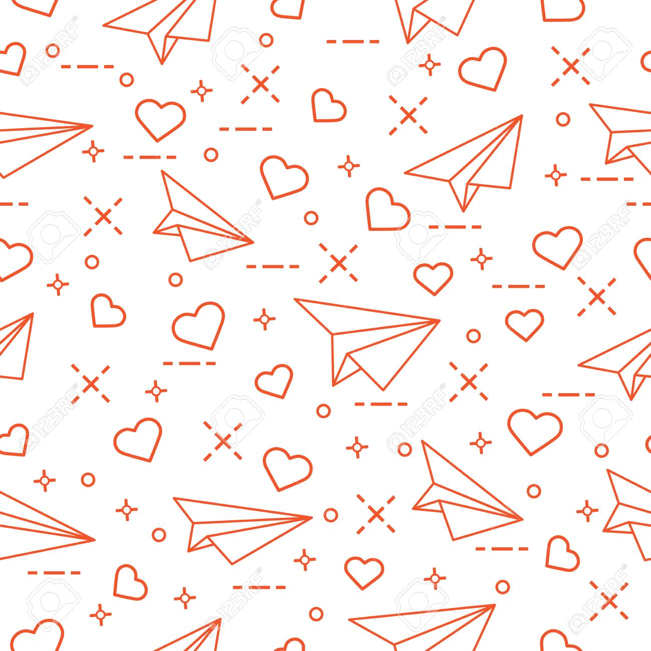 Cute Pattern With Paper Airplane And Hearts Royalty Free Cliparts
