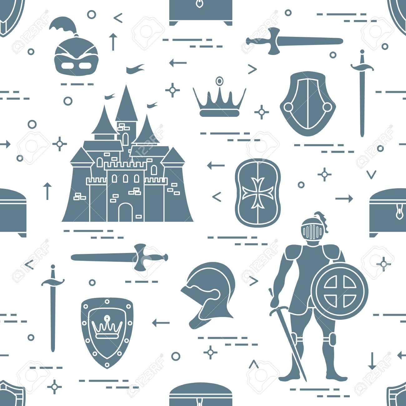 Seamless Pattern With Knight, Castle, Shields, Swords, Cuirass ...