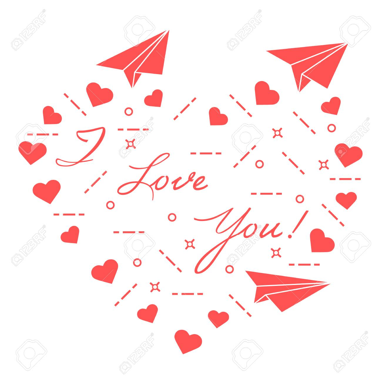 paper airplane hearts and inscription i love you template for