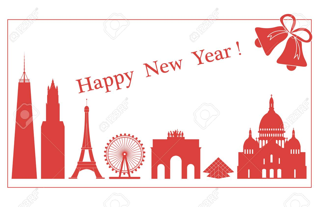 Famous buildings and constructions of different countries for famous buildings and constructions of different countries for new year greeting cards stock vector m4hsunfo