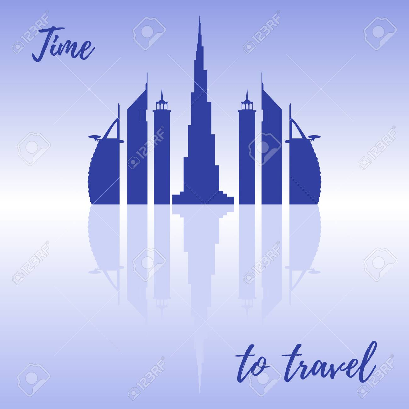 United Arab Emirates Skyscrapers Silhouette Dubai Buildings