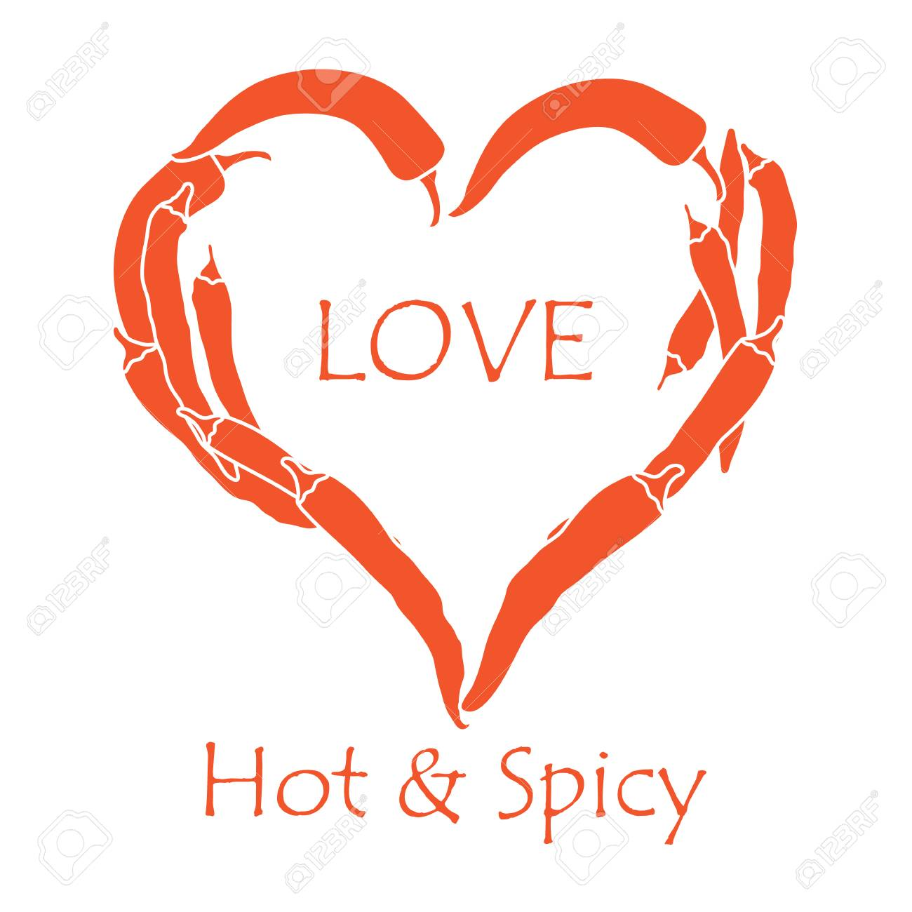 Heart Of Hot Chilli Peppers Design For Banner Poster Or Print