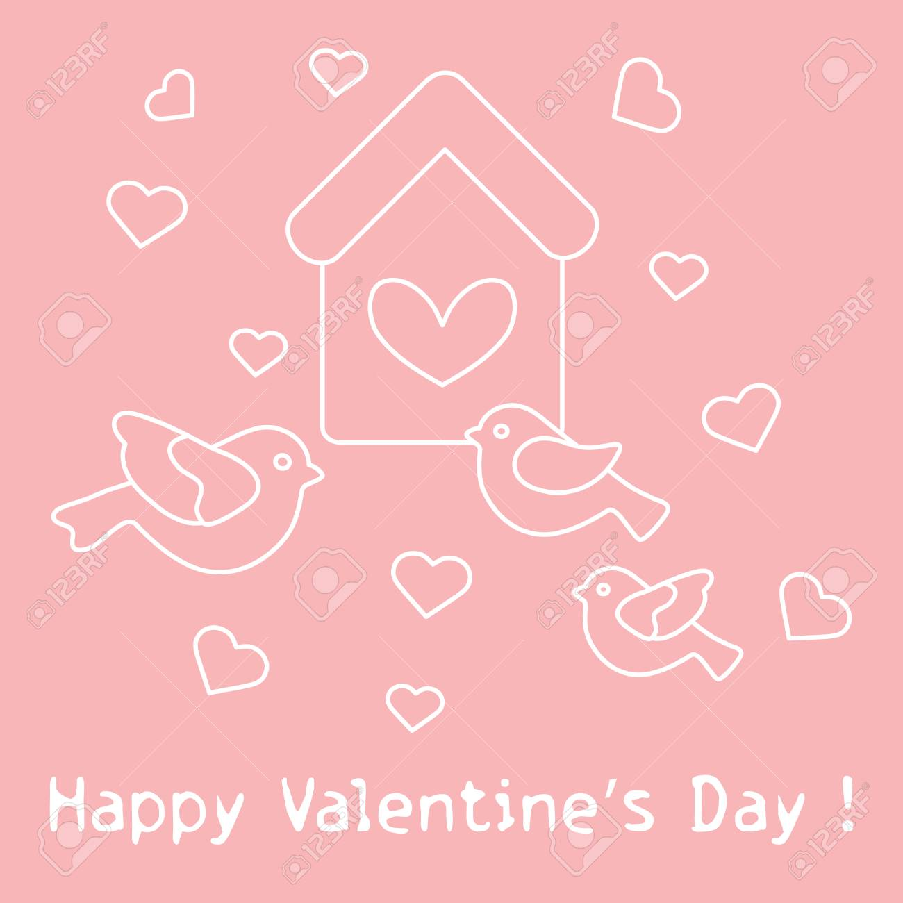Cute picture with birds birdhouse and hearts template for design greeting card for valentines day cute picture with birds birdhouse and hearts template for design fabric print m4hsunfo