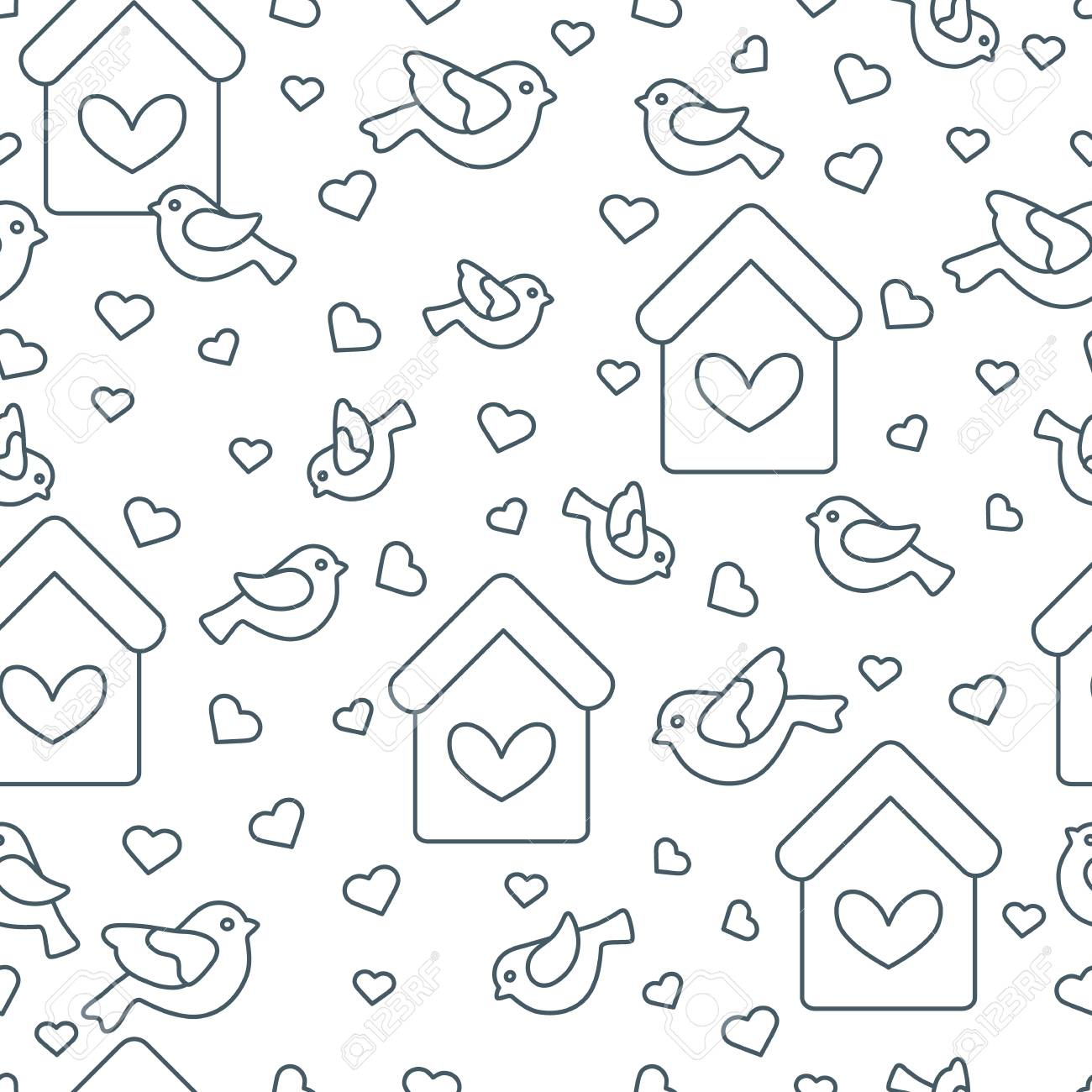 Cute Seamless Pattern With Birds Birdhouses And Heartstemplate