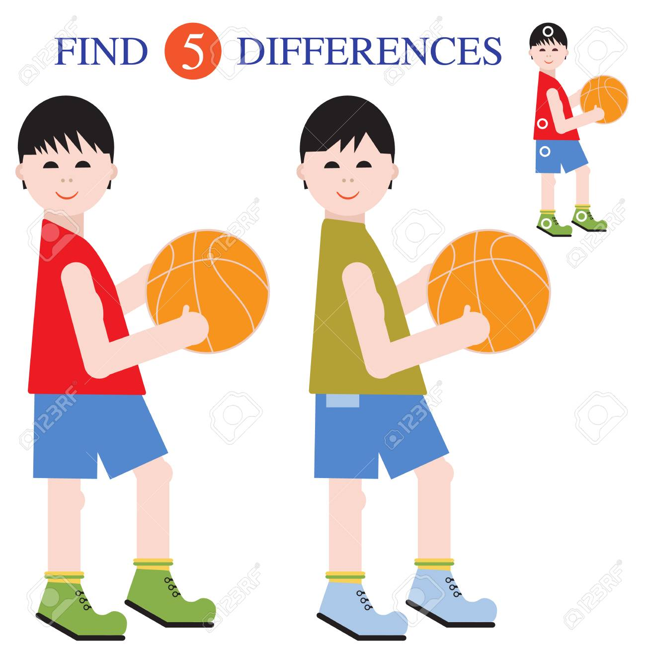 Boys basketball players with a ball. Educational games for children. Stock Vector - 96916064