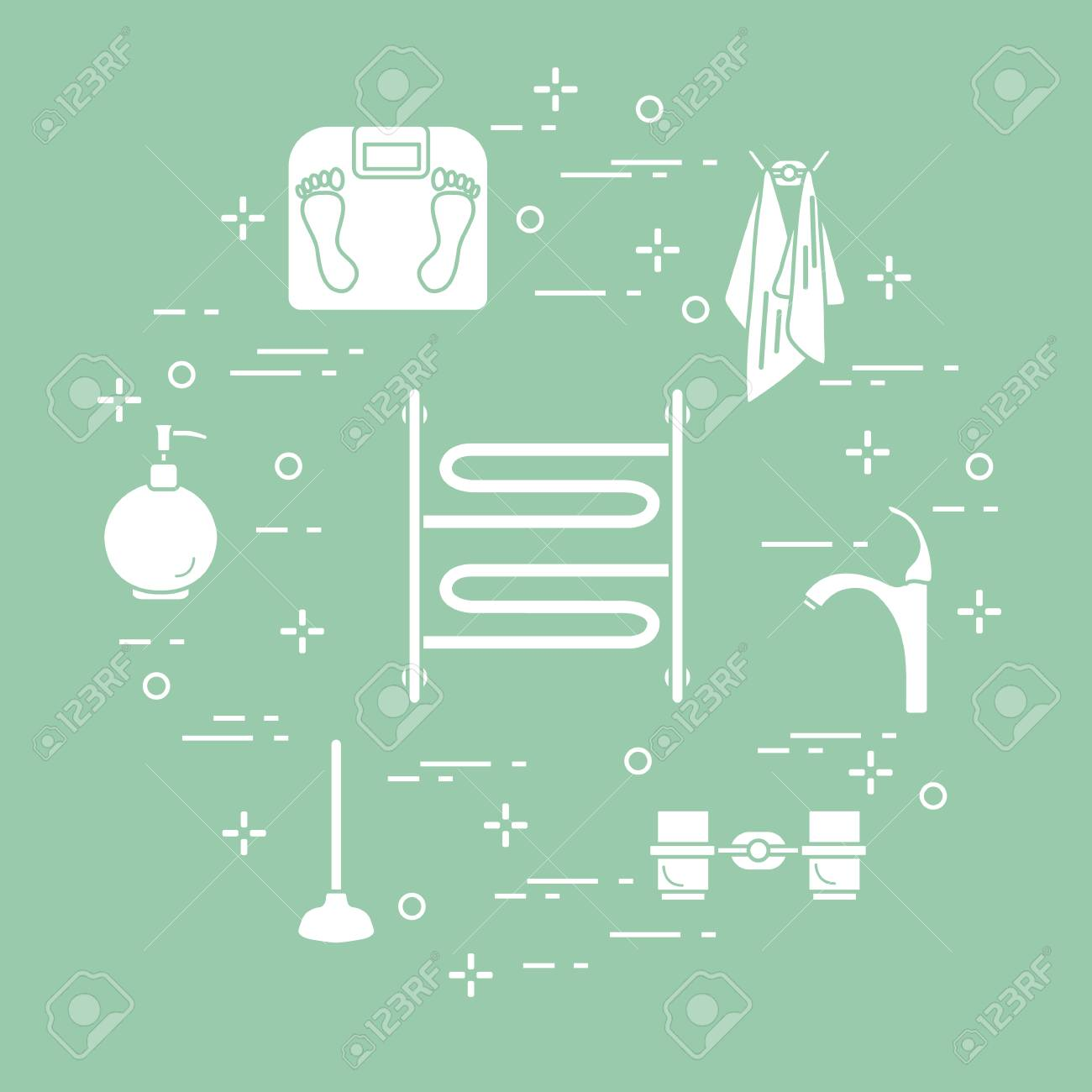 Bathroom Elements: Scales, Towel Warmer, Faucet, Plunger, Glasses ...