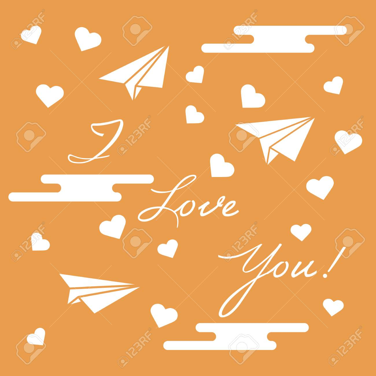 Paper airplane hearts clouds and inscription i love youtemplate greeting card valentines day paper airplane hearts clouds and inscription i love youtemplate for design m4hsunfo