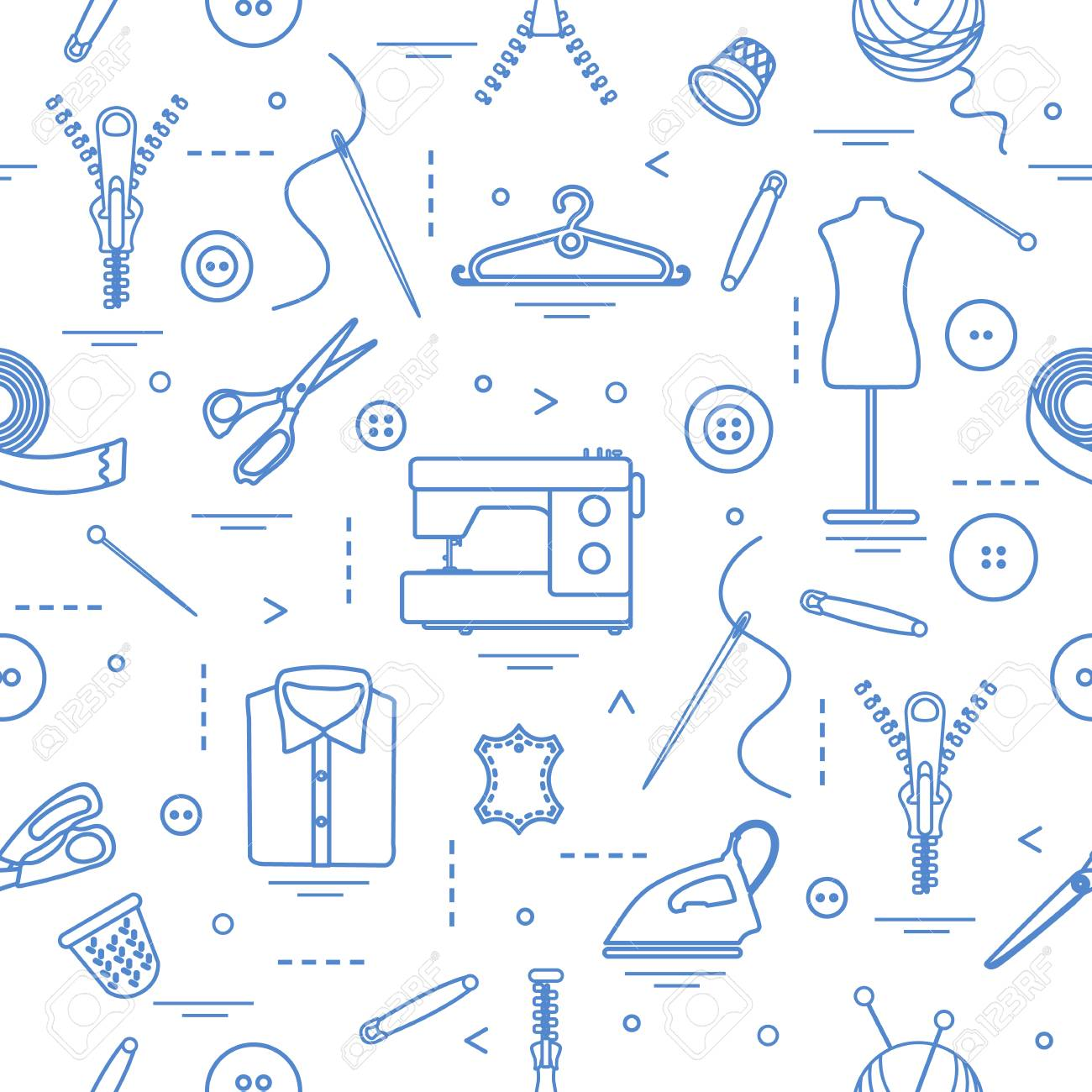 Seamless Pattern With Tools And Accessories For Sewing. Template ...