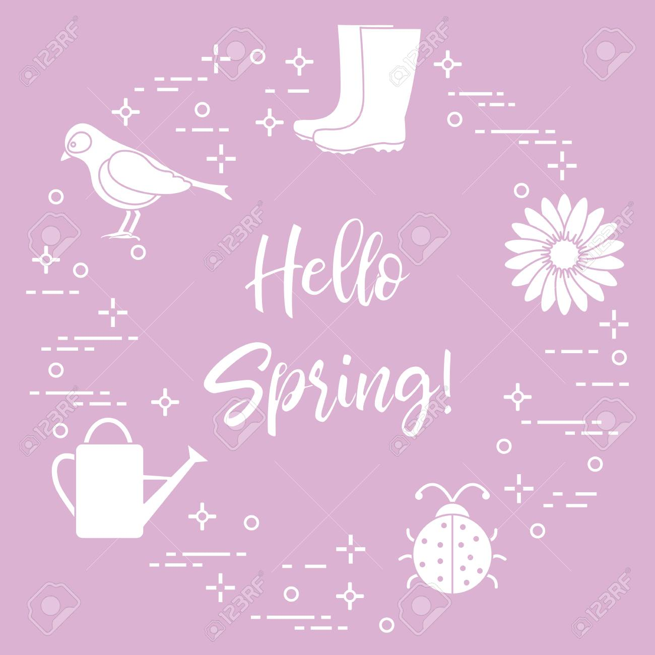 rubber boots bird flower watering can ladybug phrase hello