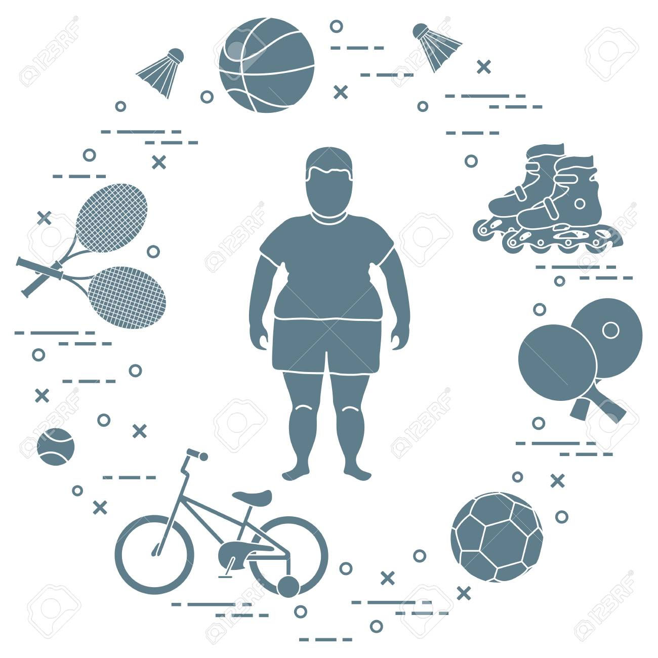 Fat boy, badminton rackets and shuttlecocks, football and basketball balls, rackets and balls for table tennis, kids bicycle, rollers. Sports and healthy lifestyle from childhood. - 102884327