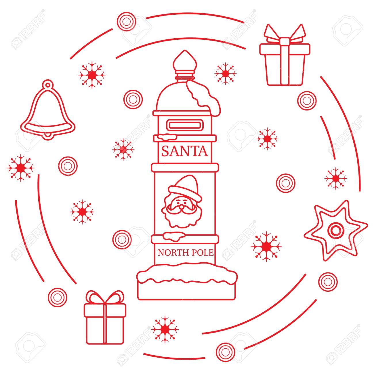 Santas Mailbox Gifts Bell Gingerbread Star Snowflakes