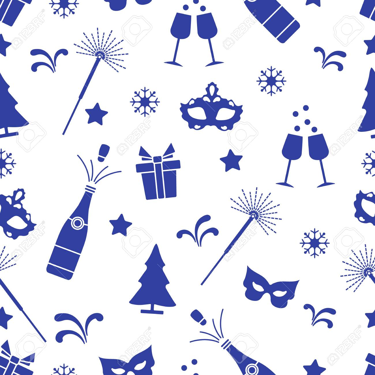 seamless pattern with new year symbols gifts fireworks bottle and glasses with champagne