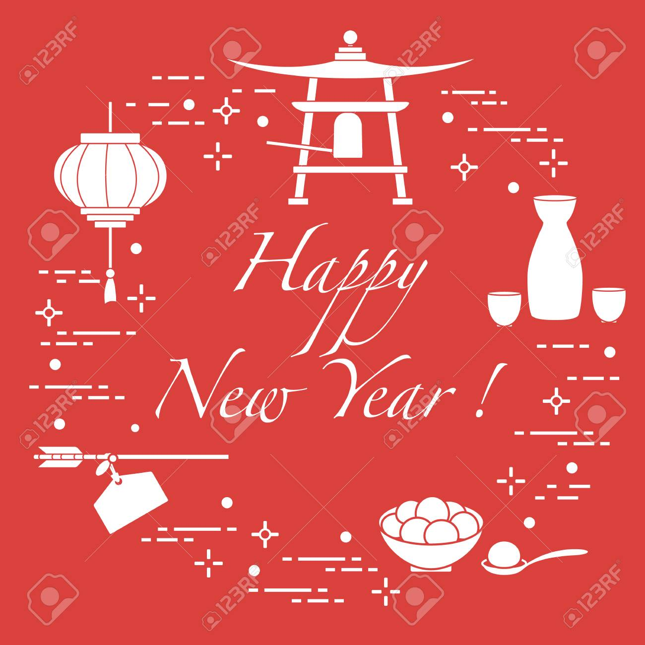 happy new year 2019 card new year symbols in japan lantern bell