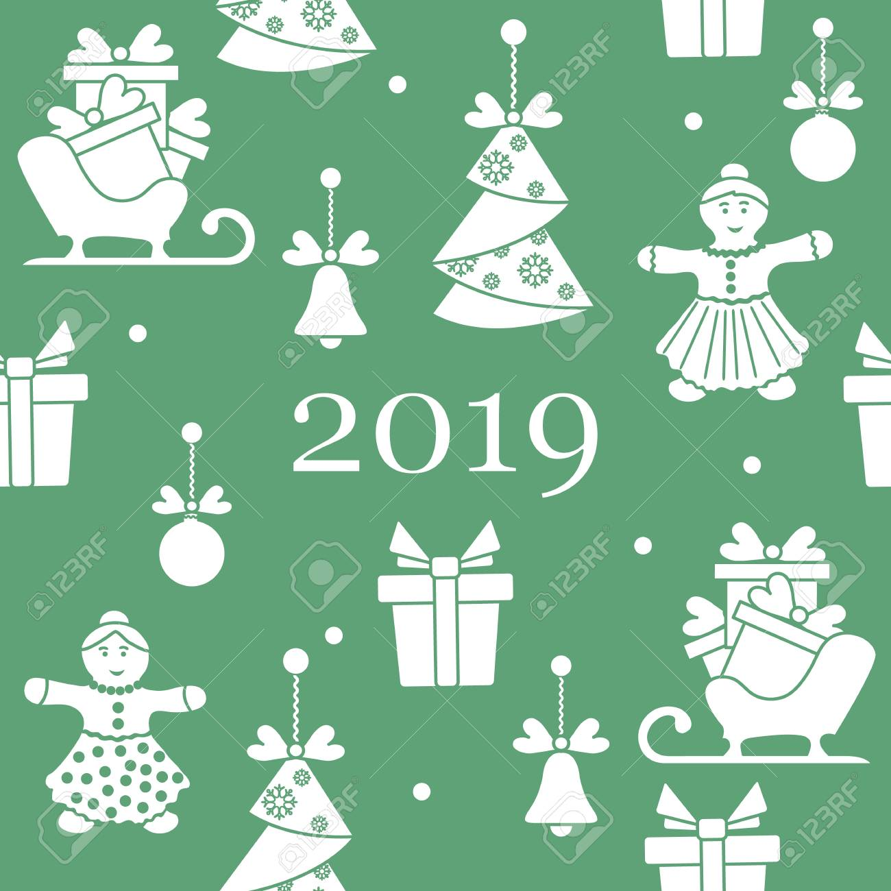 seamless pattern with christmas and new year symbols christmas