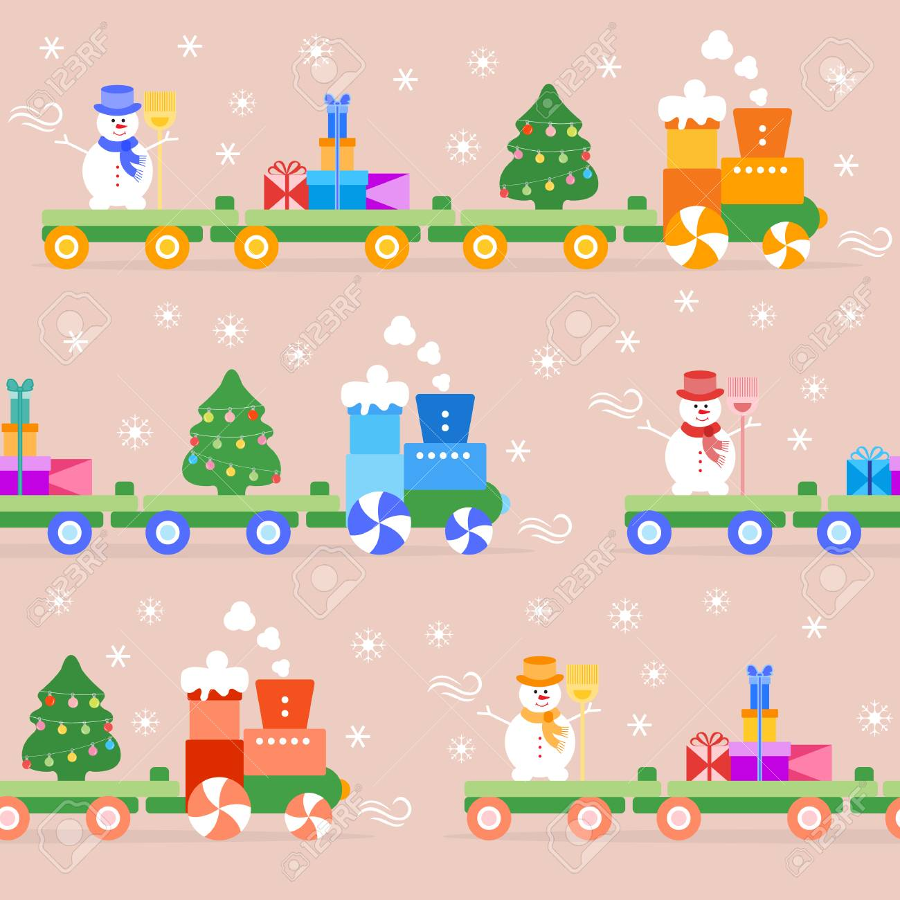 Christmas Tree Train.Seamless Pattern With Christmas Train Carries Christmas Tree