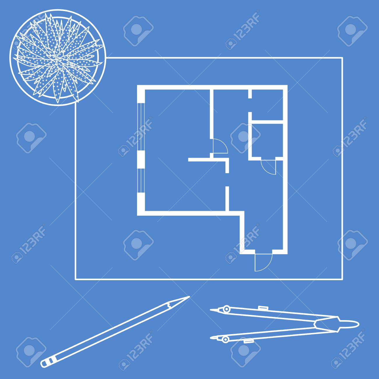Vector illustration with apartment plan, compass, pencil, cactus. Architecture project. - 115416250