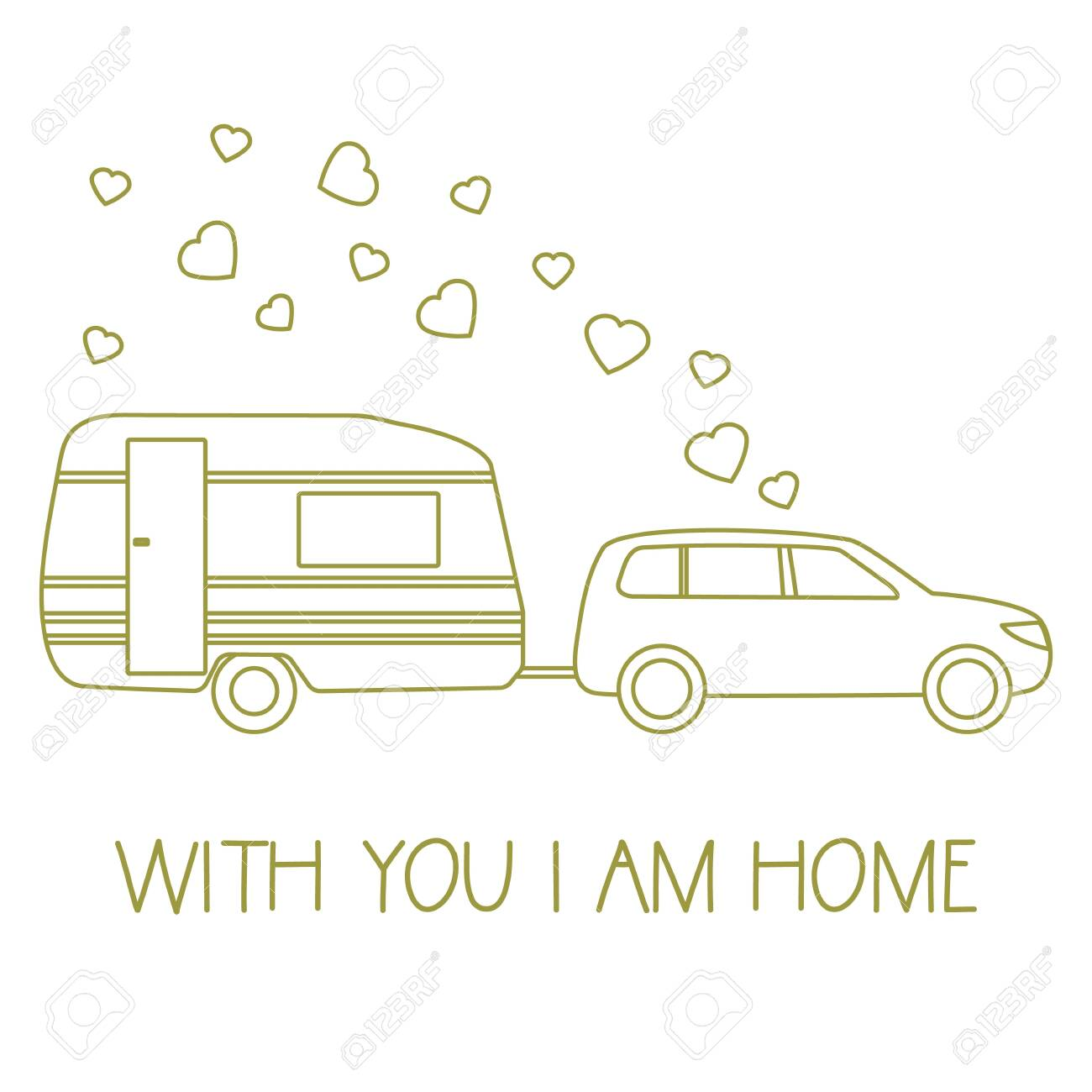 Vector illustration with car driven trailer  Motorhome  Inscription