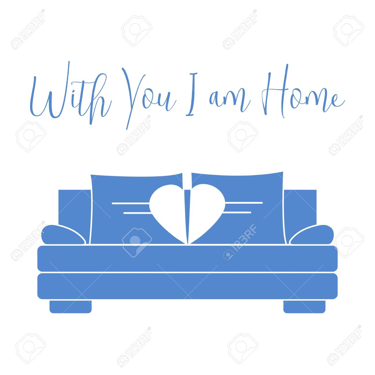 Vector illustration with sofa, pillows in heart shape. Inscription With you I am home. Valentine's day, wedding. Romantic background. Template for greeting card, fabric, print. - 119164188