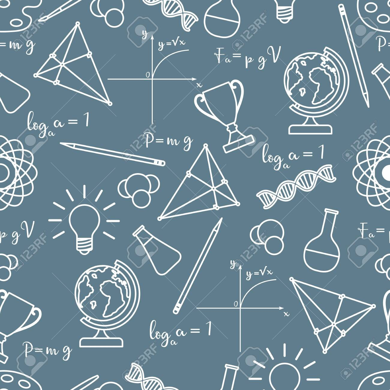 Vector seamless pattern with scientific, education elements: globe, formulas, flasks, molecules, atom, DNA, function graph, pencil, triangle. Design for websites, poster, apps, print. - 124810529
