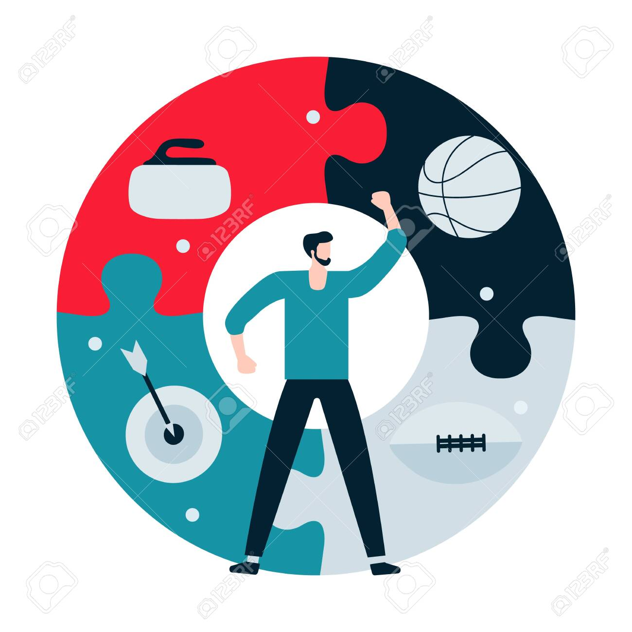 Vector illustration with man, puzzle, basketball ball, american