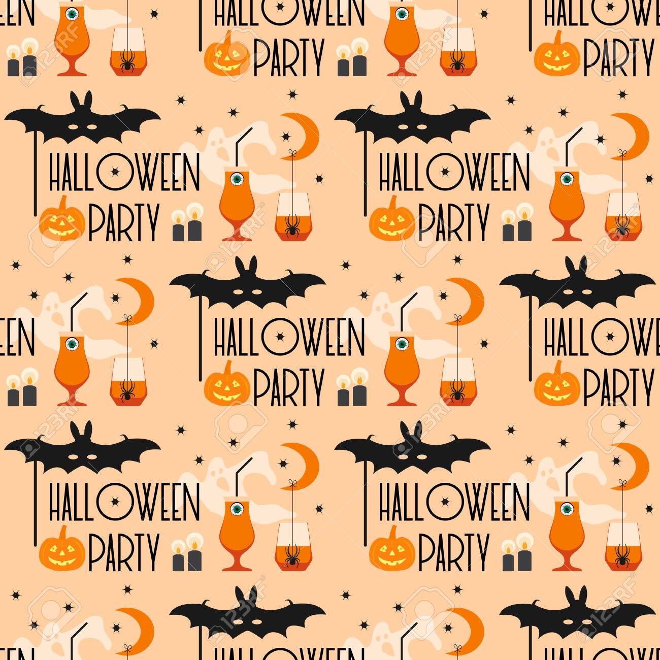 Halloween 2020 Party Halloween Party 2020. Vector Seamless Pattern With Inscription
