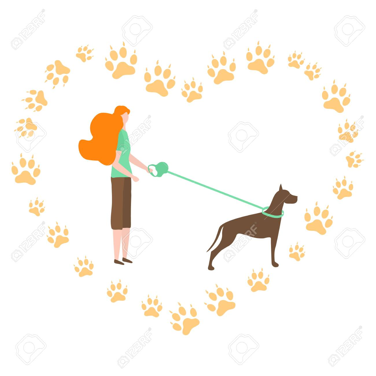 vector illustration with people walk with dog on a leash canine royalty free cliparts vectors and stock illustration image 133641128 123rf com