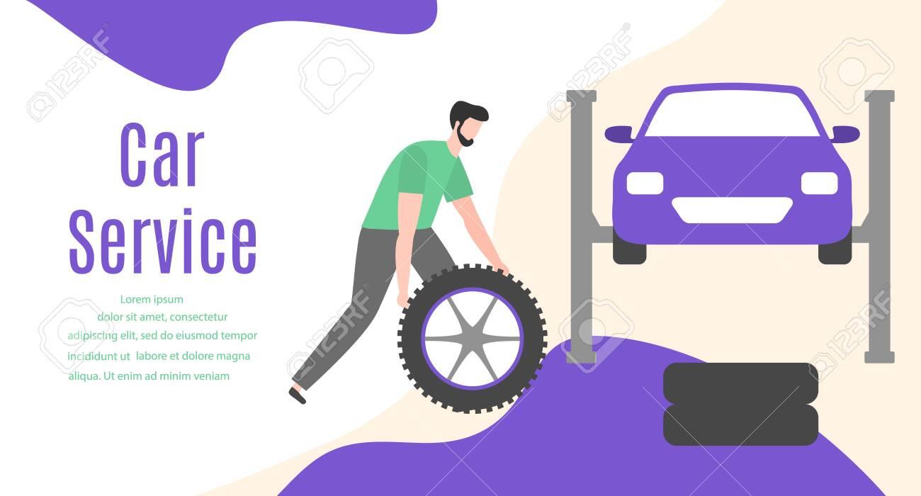 Car service vector illustration concept. Car, man, wheel, repair tools. Auto diagnostics center, automobile maintenance station. Tire service, sale of spare parts, repair. Design for web, app, print - 134002586