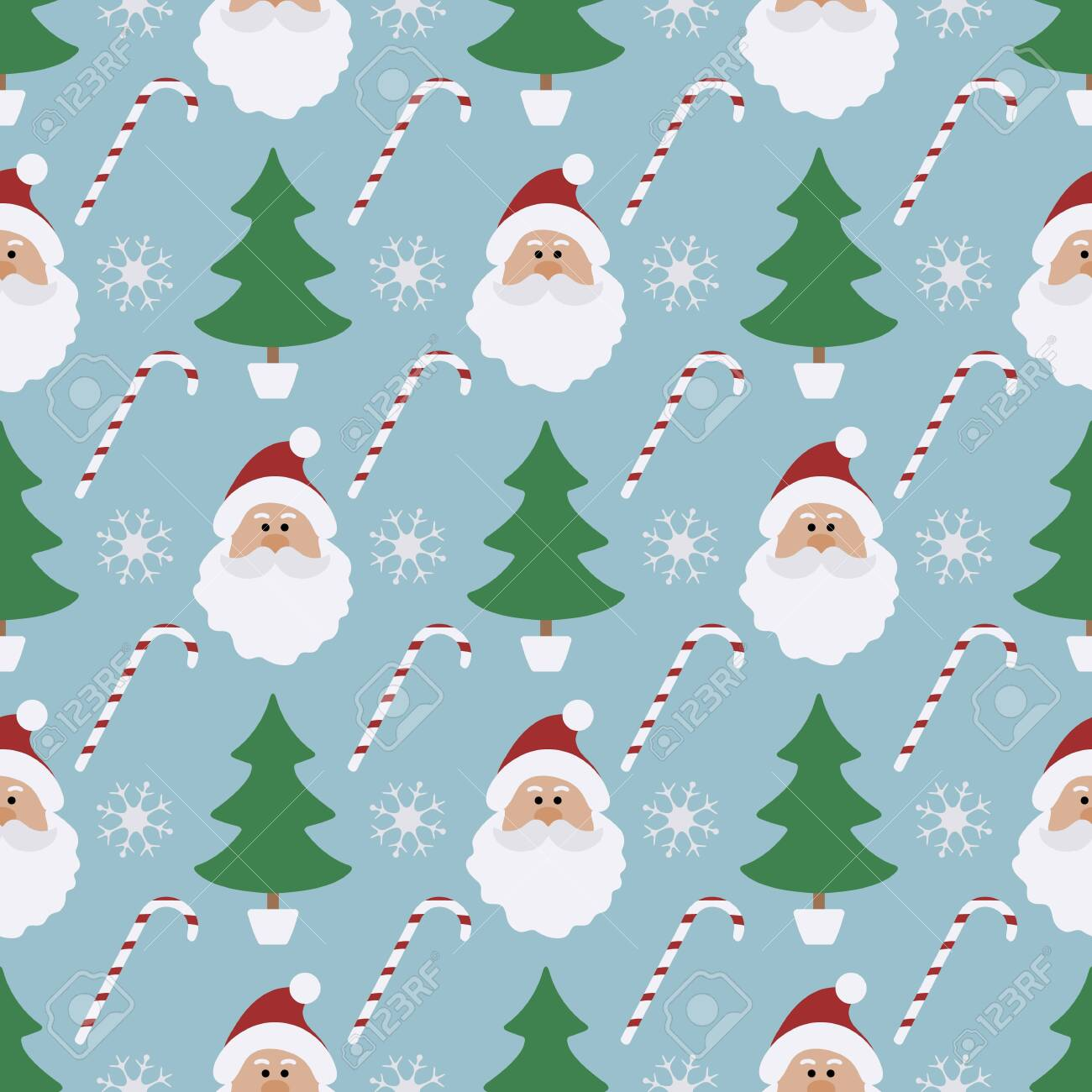 2020 Christmas Pattern With Santa Claus Happy New Year 2020, Merry Christmas. Vector Seamless Pattern