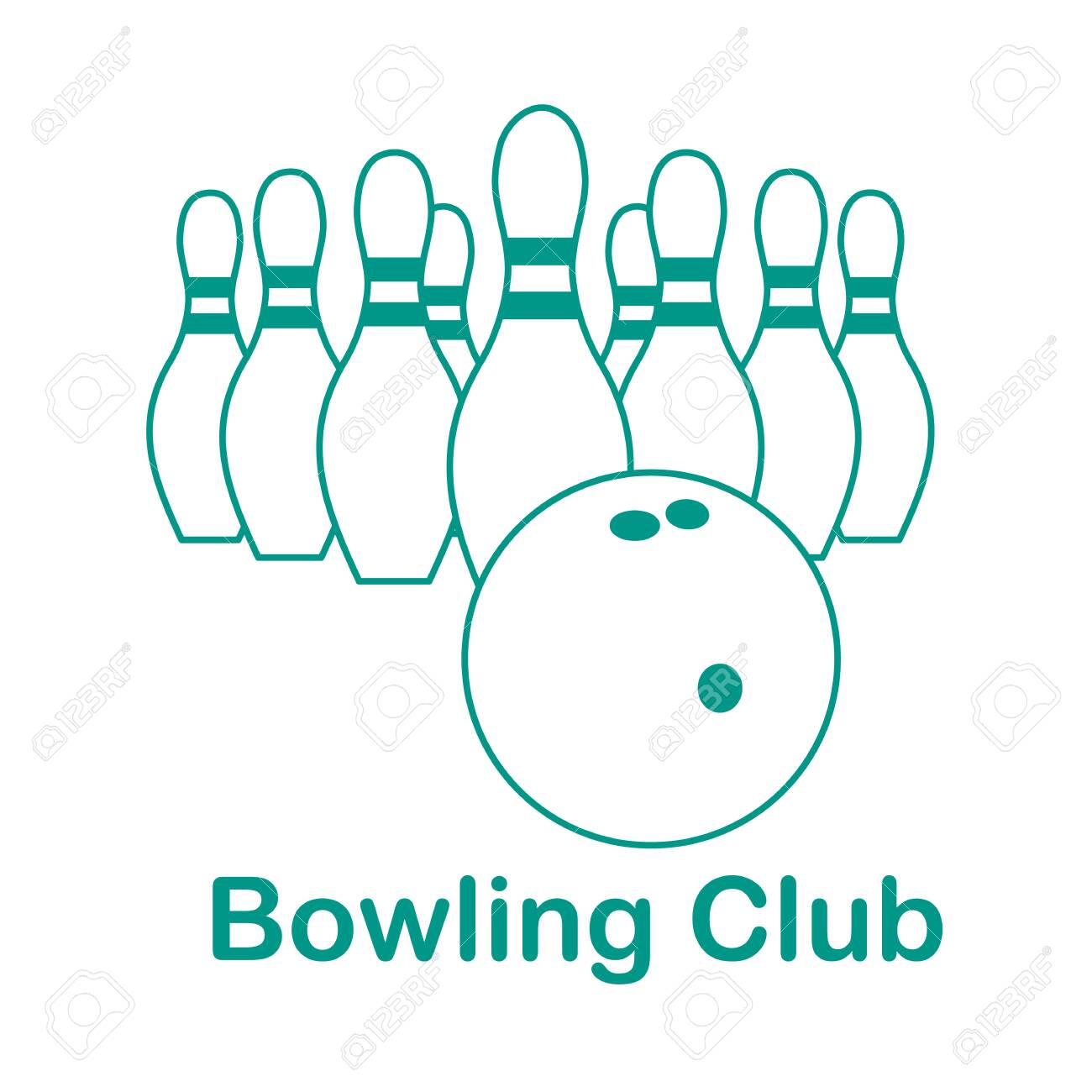 Vector Illustration Bowling Pins And Ball On White