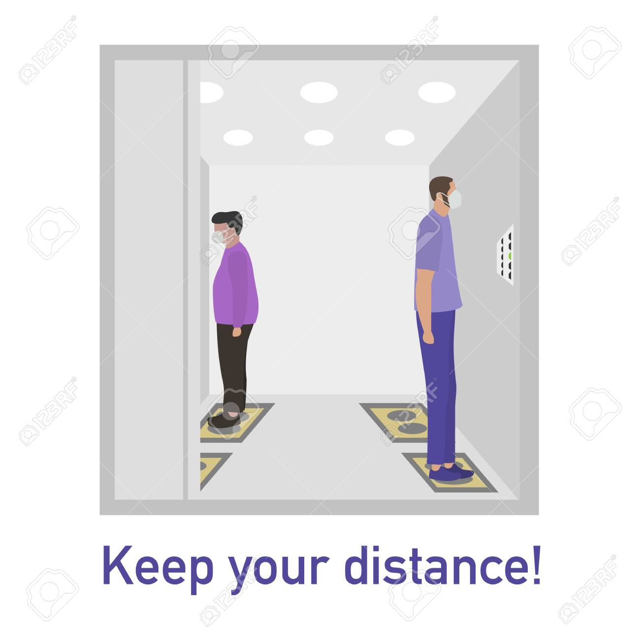 Vector illustration Keep distance. Social distancing. coronavirus COVID-19 Quarantine. Pandemic virus Reducing risk of infection, disease prevention measures. People in masks in elevator - 142844681