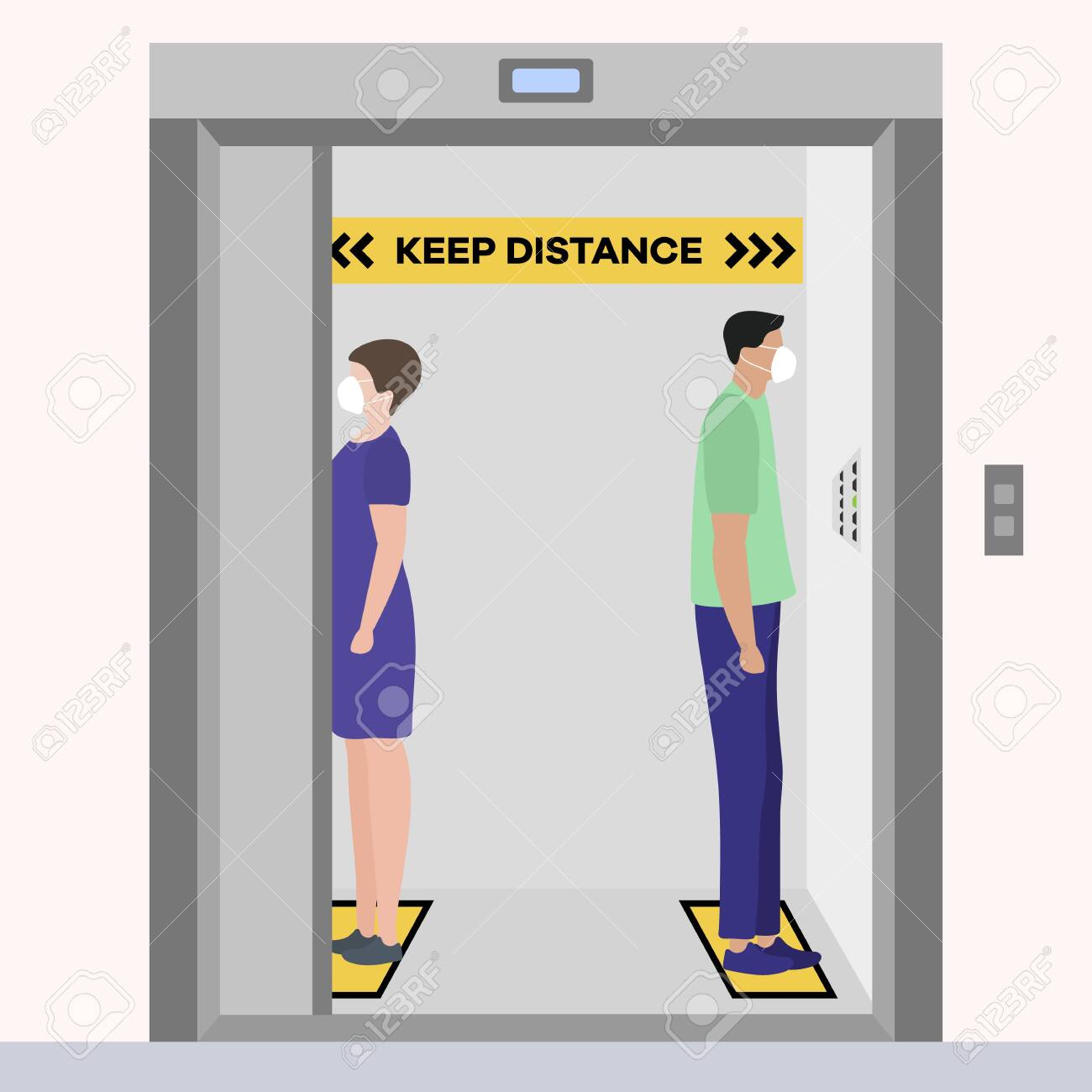 Vector illustration Keep distance. Social distancing. coronavirus COVID-19 Quarantine. Pandemic virus Reducing risk of infection, disease prevention measures. People in masks in elevator - 145251395