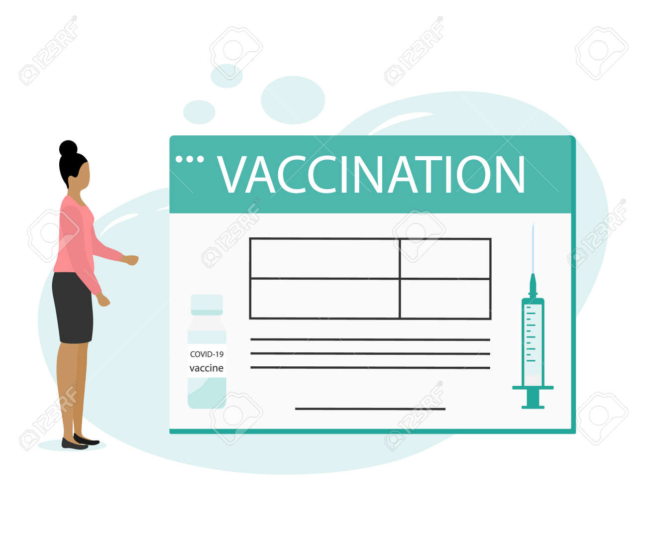 Vector illustration People Syringe Vaccine coronavirus Immunization Adult Vaccination calendar Vaccination information Healthcare Public health program Medical support service Design for web app print - 169848248
