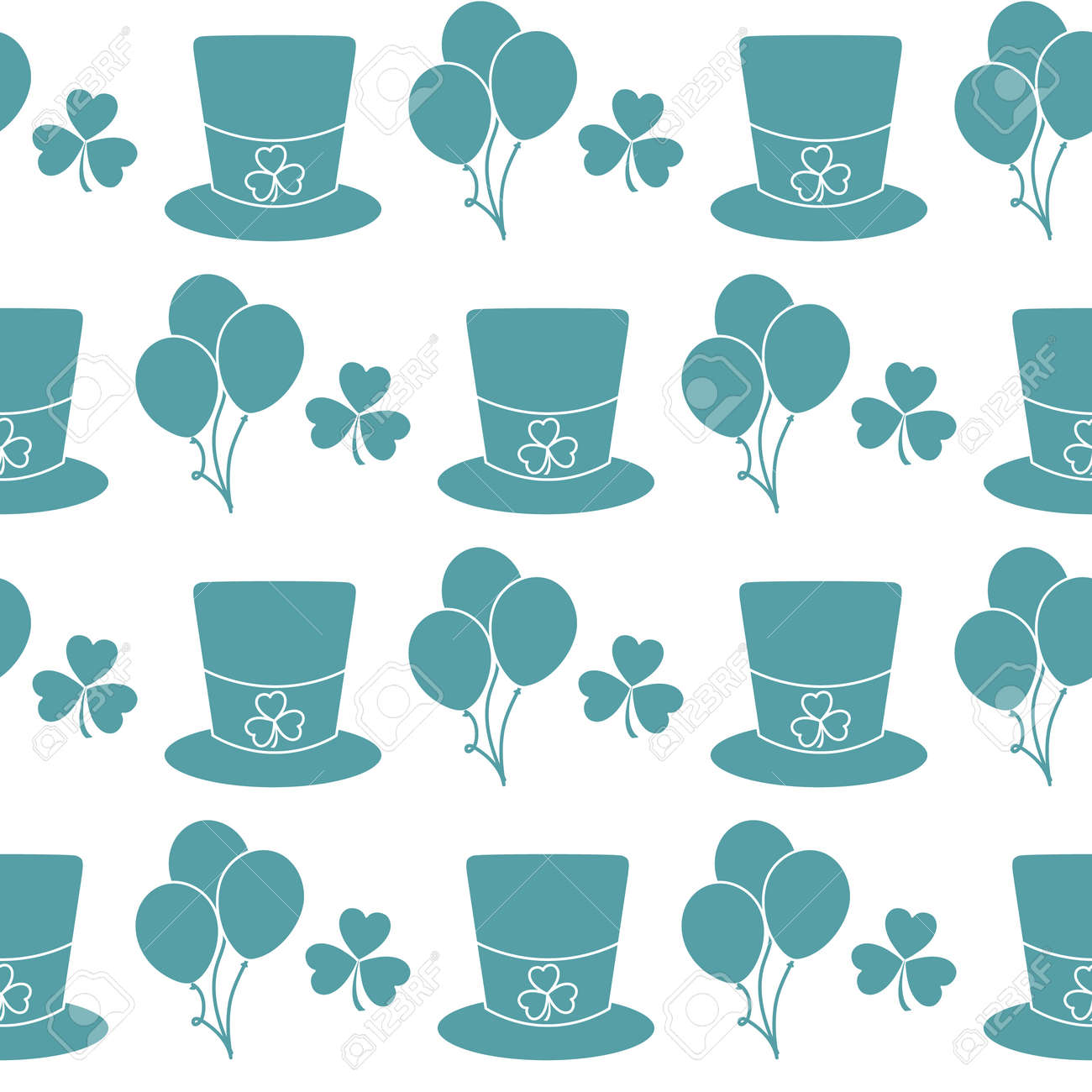 Vector seamless pattern Happy St. Patrick's Day illustration Ireland Shamrock Hat Balloon Irish Holiday Party Festive background Design for greeting card, fabric, print, wrapping paper - 169848250
