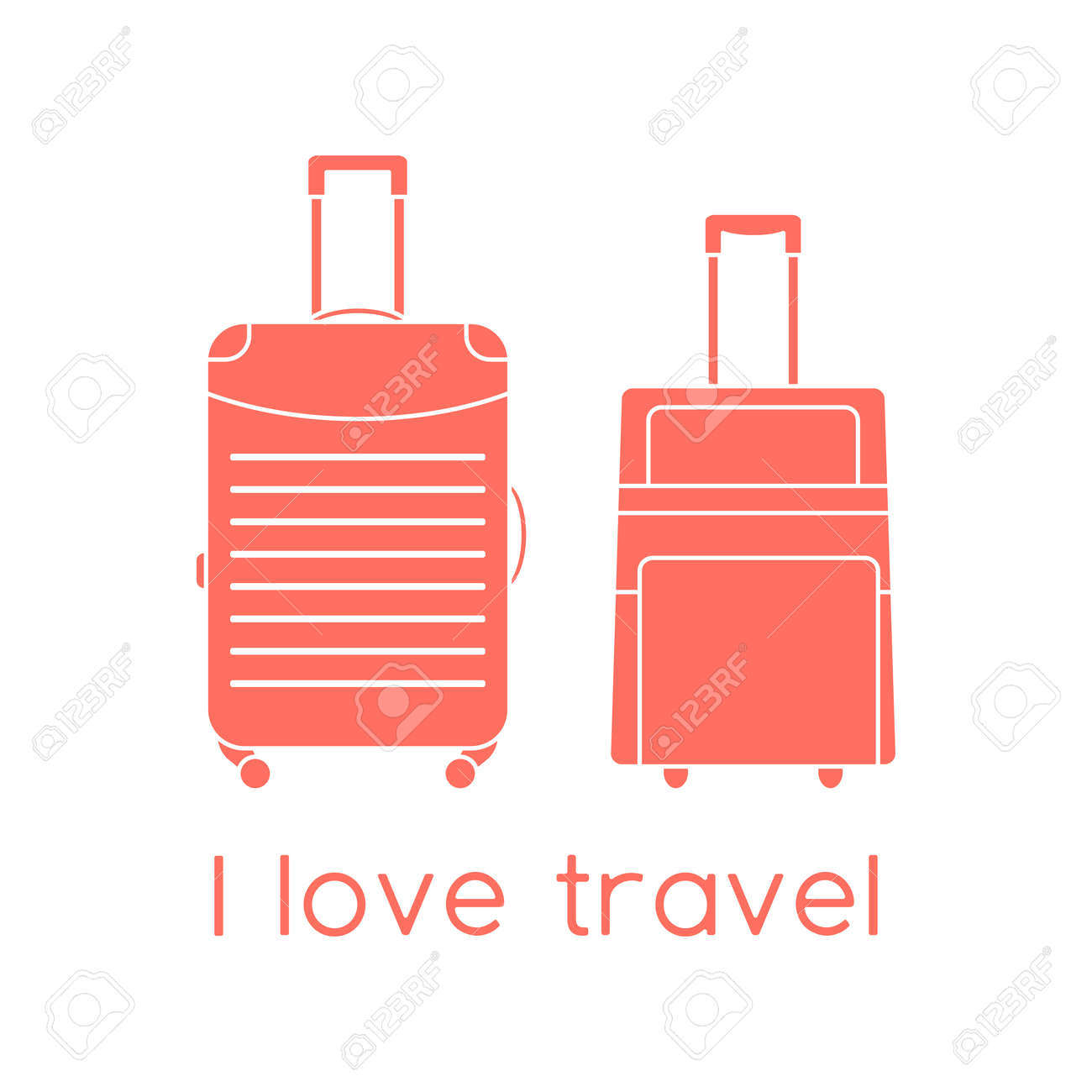 Vector illustration Suitcases isolated on white background. I love travel. Summer time, vacation, holiday, leisure. Concept for travel agency, booking service. Design for web page, print - 169848258