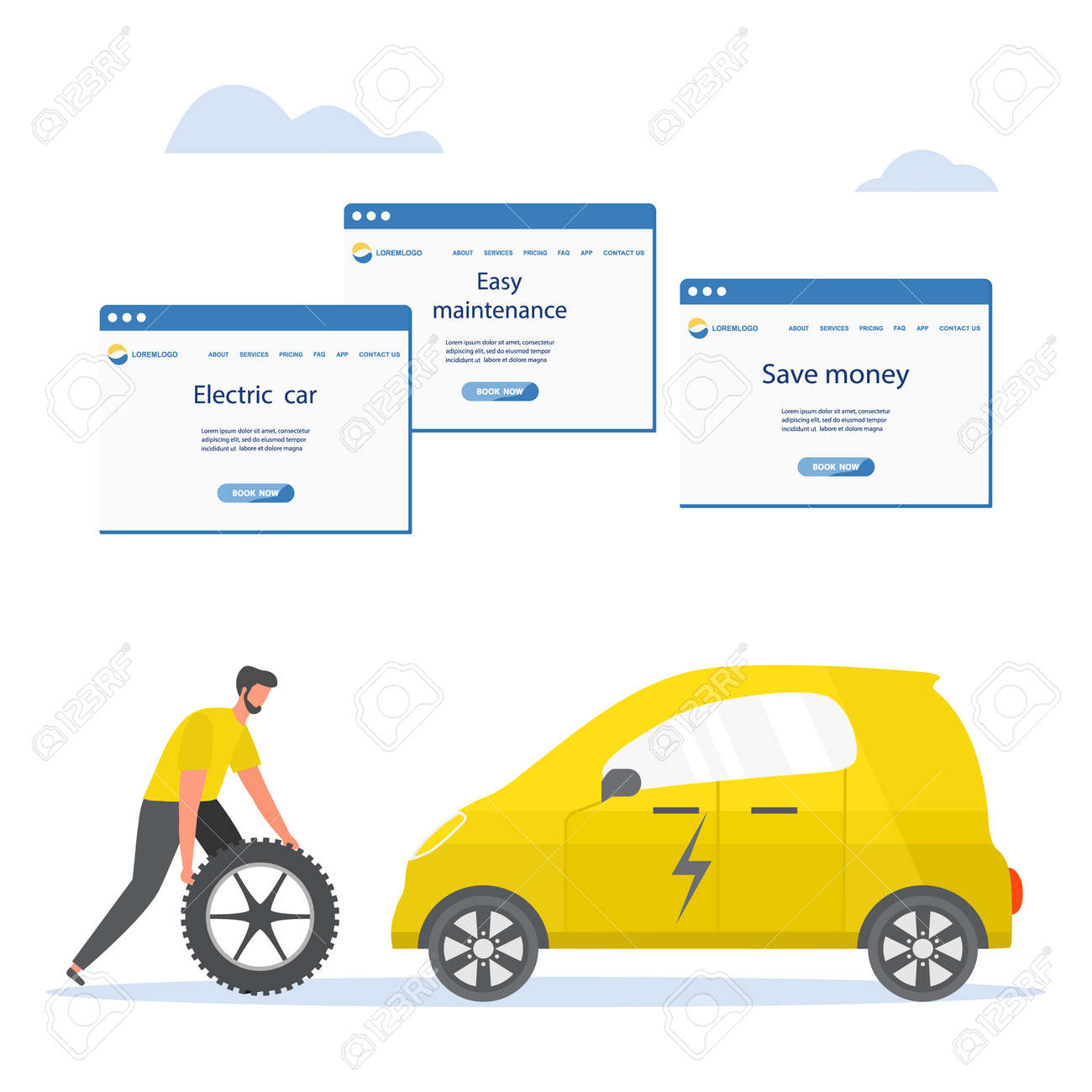 Vector illustration Repair, service, maintenance of electric car. Green energy. New transport eco technologies. ECO friendly. Environmental Protection. Zero emission. Design for web, print - 169848262