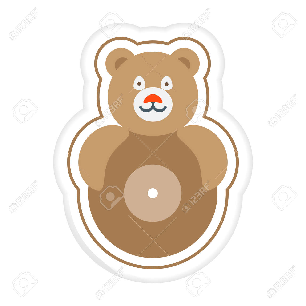 Vector illustration Kid toys Sticker Tumbler Roly-poly toy bear. Primary school, elementary grade, kindergarten. Happy childhood. Activity. Game. Play. Design for print - 170255046