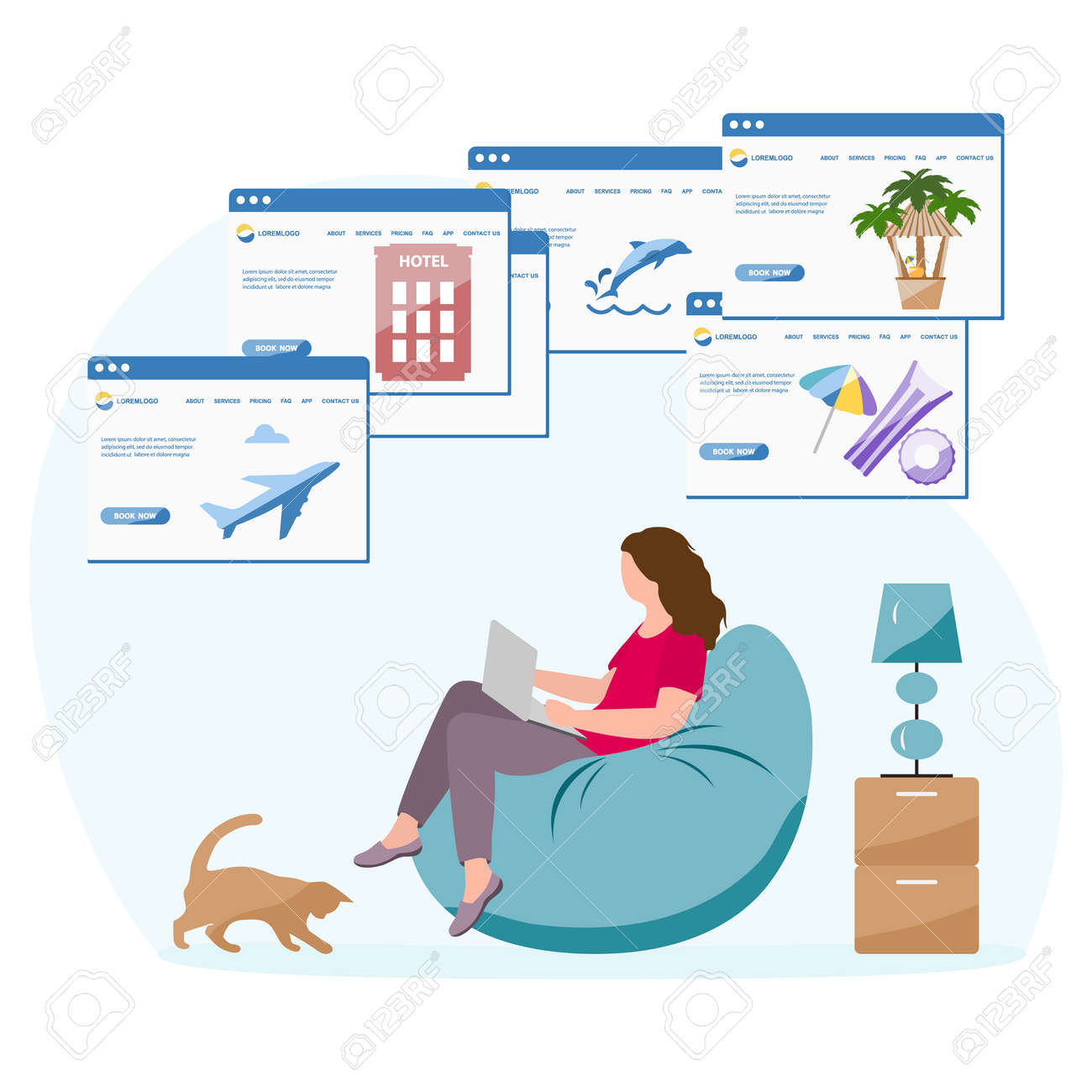 Vector illustration People book vacation on laptop. Travel or journey planning. Plan holiday route. Online concept. Internet e-commerce, travel technology. Resort. Tourism. Design for website, print - 170255054