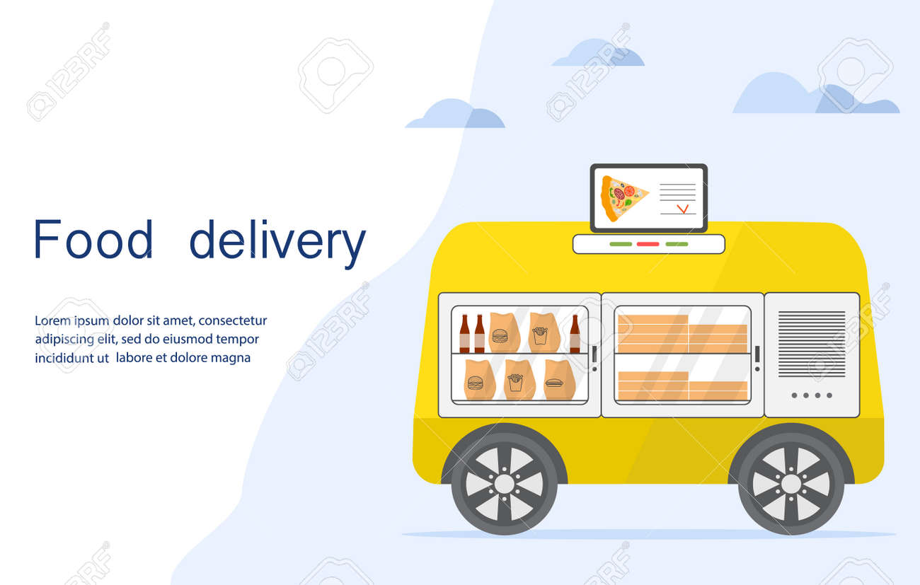Vector illustration Fast food online order for delivery by self-driving transportation. Food delivery automated car, autonomous vehicle, driverless transport. Scientific, technical progress. Robot - 170255058