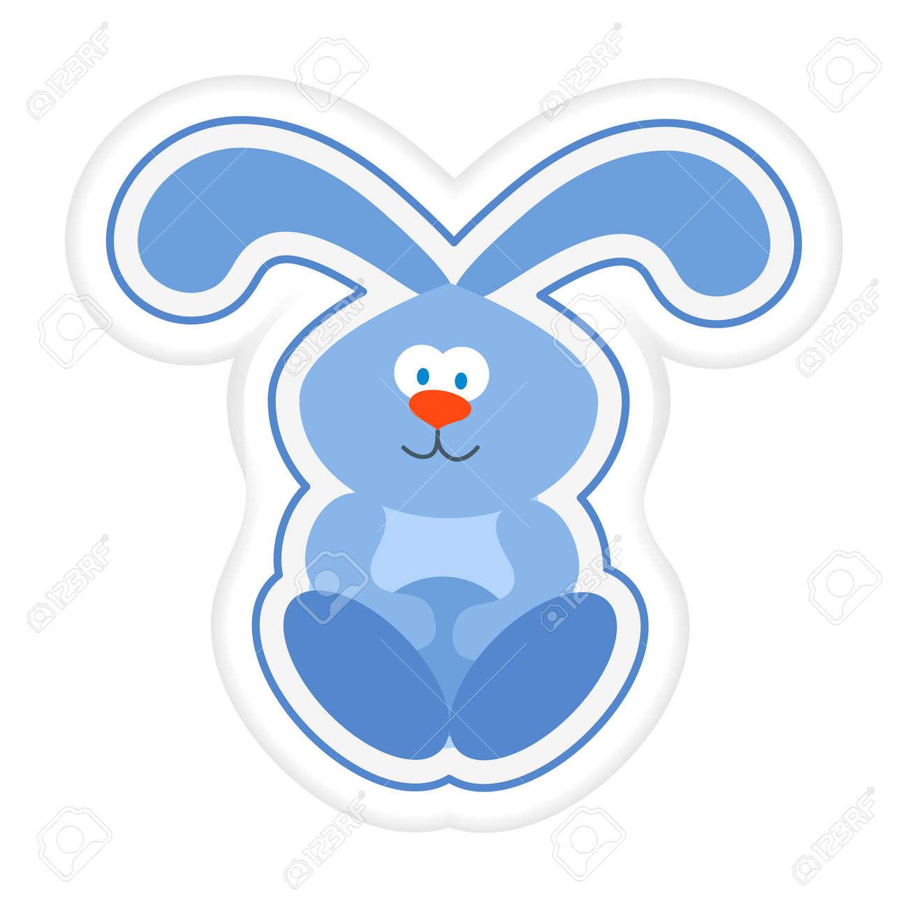Vector illustration Kid toys Sticker Hare rabbit Bunny Primary school, elementary grade, kindergarten. Happy childhood. Activity. Game. Play. Design for print - 170178256