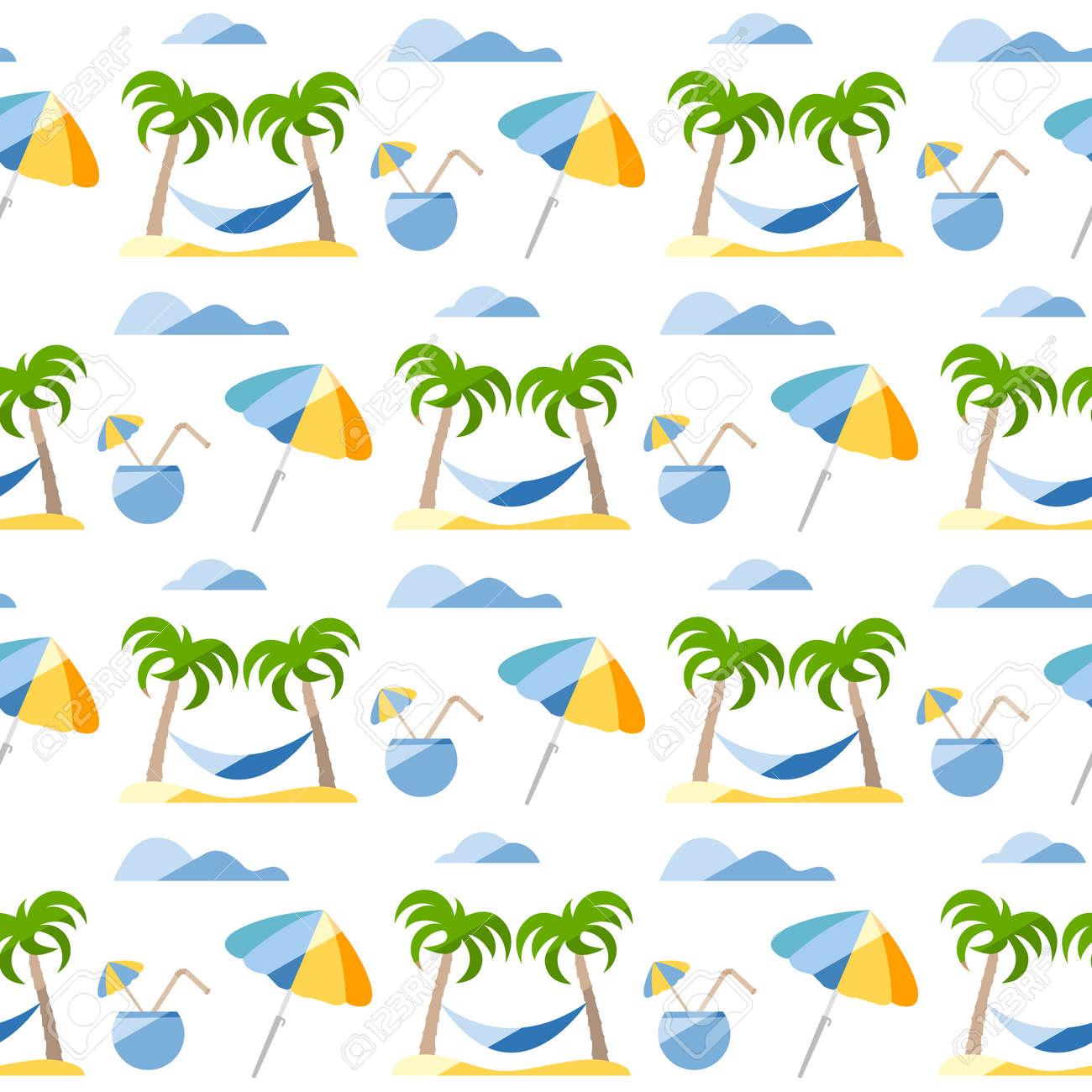 Seamless pattern. Travel vector illustration. Vacation at sea. Summer rest. Holiday. Adventure. Cruise. Cocktail, palm tree, hammock, beach umbrella. Design for print - 170255096
