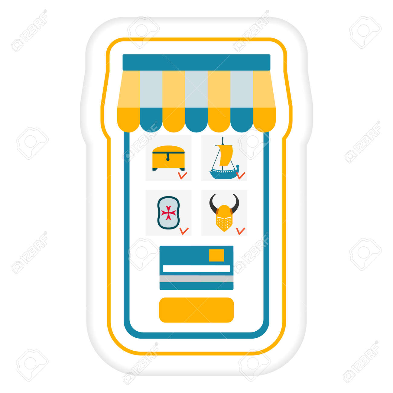 Vector illustration Sticker Online order. Online ordering toys by cellphone. Delivery at home. Happy childhood. Shopping Sale Purchase Design for print - 170178370