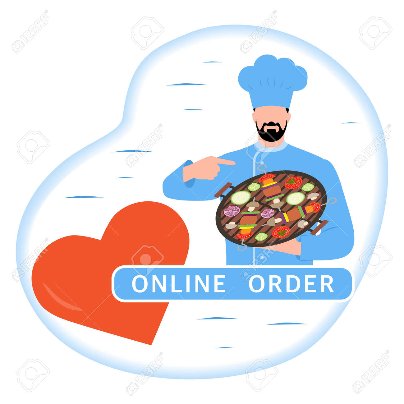 Vector illustration Online order. Chef offers to grill food. Ordering bbq food delivery online. Advertising of restaurant menu. Delivery at office or home. Tasty meal. Design for print - 170249985