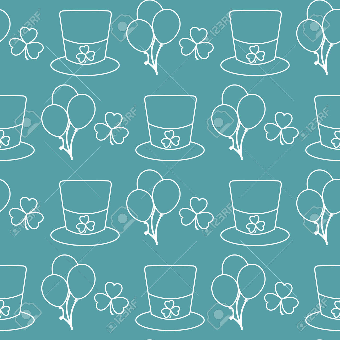 Vector seamless pattern Happy St. Patrick's Day illustration Ireland Shamrock Hat Balloon Irish Holiday Party Festive background Design for greeting card, fabric, print, wrapping paper - 170255299