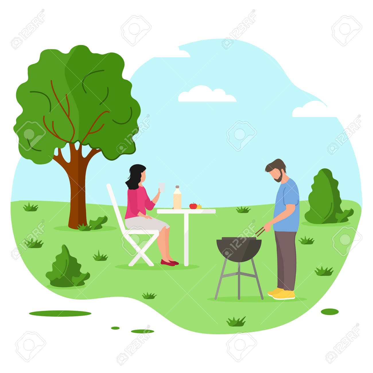 Vector illustration Male preparing barbecue outdoors for friends, family. BBQ party background. Picnic outdoors. Enjoyment barbecue time in the nature. BBQ grill. Design for print. - 170249963