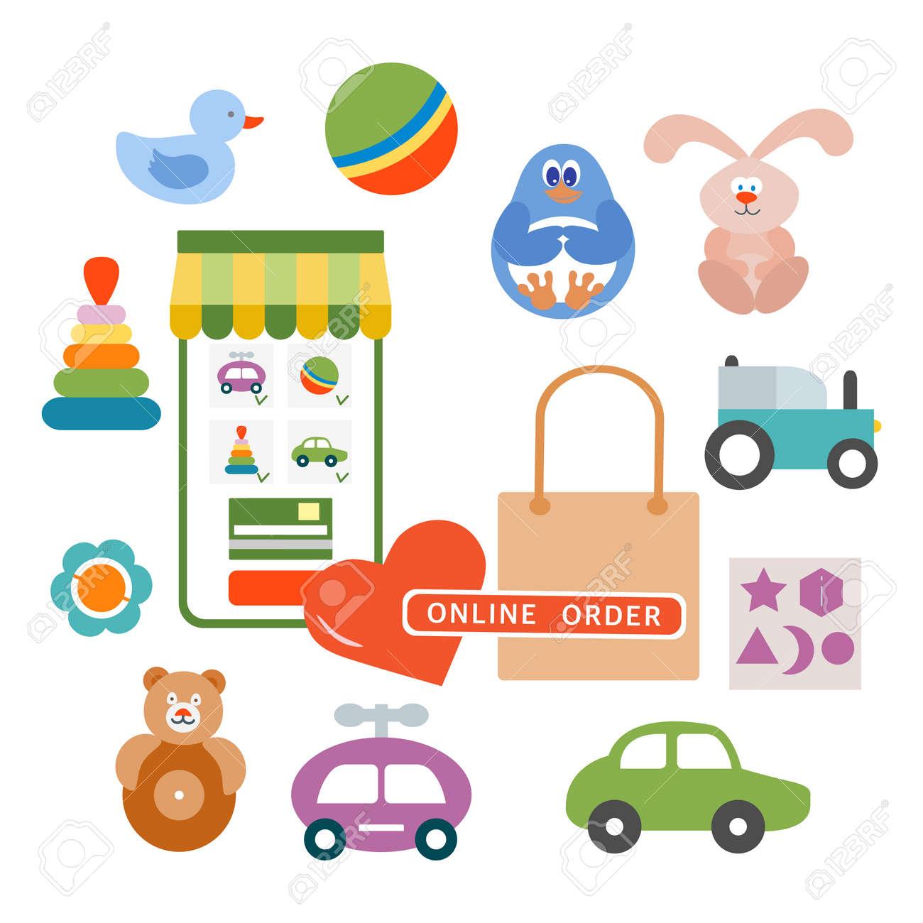 Vector illustration Online order Kid toys Happy childhood Gaming items Cars, pyramid, ball, rattle, tumbler, rabbit, duck, penguin, sorter Primary school Elementary grade Kindergarten Game Play - 170249918