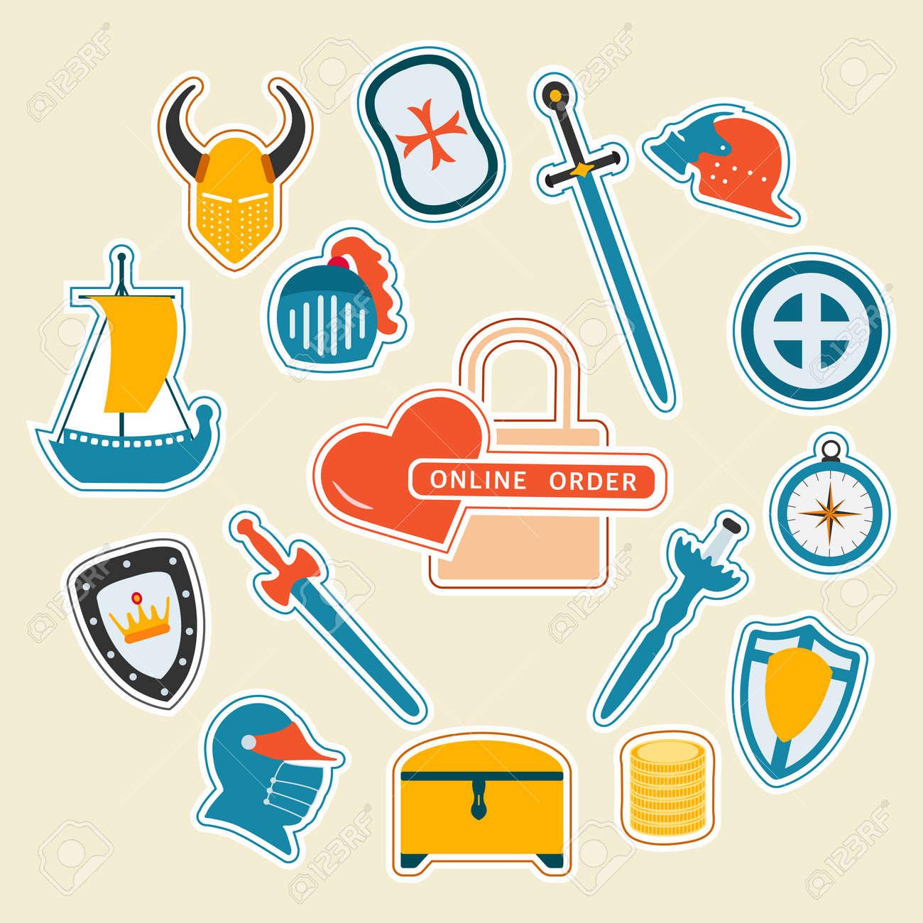 Vector illustration Stickers pack Online order Kid toys Knightly sword, shield, helmet, treasure chest, ship. Happy childhood Gaming items Primary school Elementary grade Kindergarten Game - 170249854